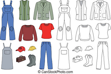 Worker, plumber man, woman colored outlined fashion set isolated on white background