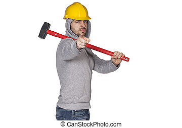 worker pointing at you