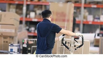 Worker pushing trolley with boxes in warehouse storage