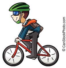 worker riding bike
