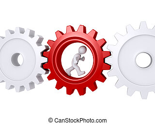 Worker running inside of a cogwheel