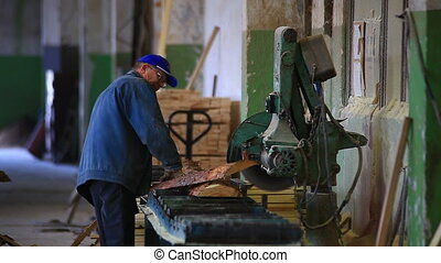 worker saws board the machine