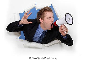 worker screaming in bullhorn