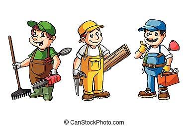 Worker Set : Gardener,Carpenter And Plumber
