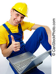 "Worker showing ""good"" sign"