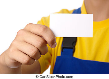 Worker showing his business card