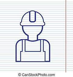 Worker sign. Vector. Navy line icon on notebook paper as background with red line for field.