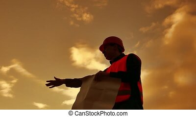 worker silhouette worker builder man with red helmet and...