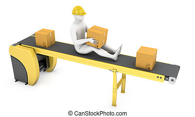 Worker sits on belt conveyor