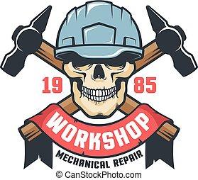 Worker skull in helmet vintage logo