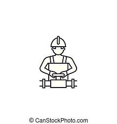 worker spinning the valve vector line icon, sign, illustration on background, editable strokes