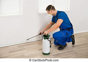 Worker Spraying Pesticide On Wall At Home - Side view of...