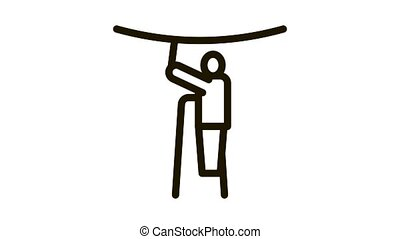 worker stretching ceiling Icon Animation. black worker stretching ceiling animated icon on white background