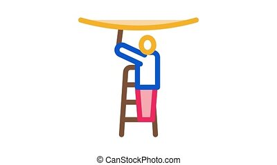 worker stretching ceiling Icon Animation. color worker stretching ceiling animated icon on white background