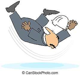 Worker Taking A Slip And Fall - This illustration depicts a...