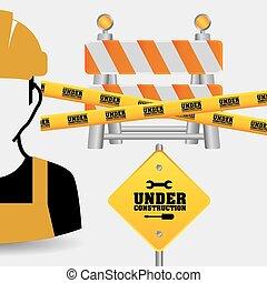 worker tape under construction sing
