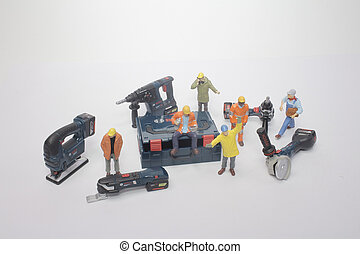 Worker team tools supplies on back ground