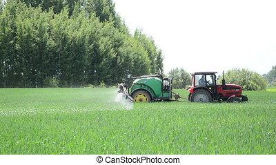 worker tractor crop