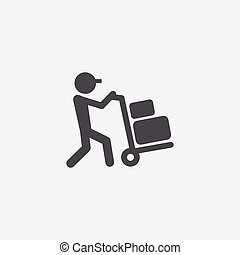 worker trolley icon, on white background.