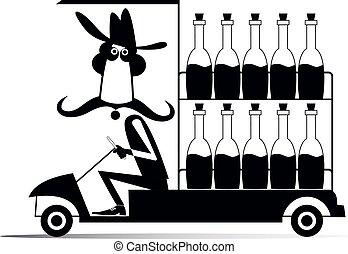 Worker, truck and bottles illustration