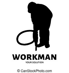 Worker vector logo. Brand's logo in the form of a road worker
