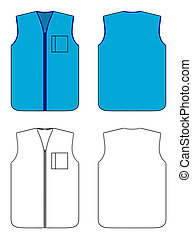 Worker waistcoat with zipper and po