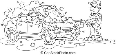 Car wash, a funny serviceman in uniform cleaning an automobile with auto shampoo and pressured water, black and white outline vector cartoon illustration