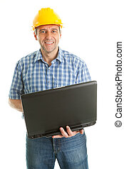 Worker wearing hard hat and using leptop
