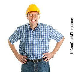 Confident worker wearing hard hat. Isolated on white
