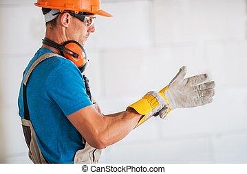 Worker Wearing Safety Gloves