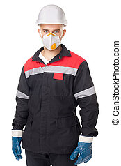 worker wearing safety protective gea