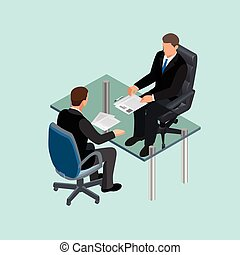 worker., werk, tafel., interviewer., kandidaat, verhuring, meeting., 3d, isometric, concept, werving, zakelijk, zittende , mensen, kostuum, interview., plat, huren, illustration., of, applicants.