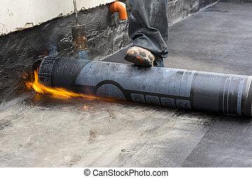 burning the waterproof membrane