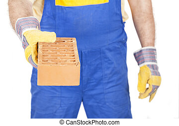 Worker with a Brick in Hand