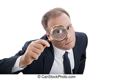 worker with a magnifying glass