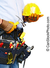 Worker with a tool belt. Construction.