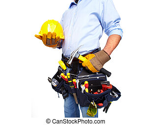 Worker with a tool belt. Construction. - Worker with a tool...