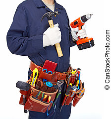 Worker with a tool belt.