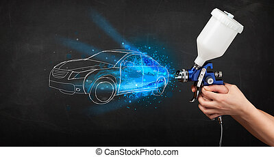 Worker with airbrush gun painting hand drawn car lines