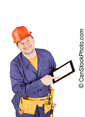 Worker with black board.