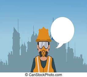 Worker with blanck speech bubble HD definition - Worker with...
