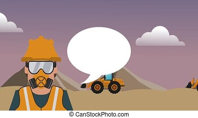 Worker with blank speech bubble HD definition - Worker with...
