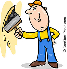 Cartoon Illustration of Worker with Big Brush painting a Wall and doing Renovation