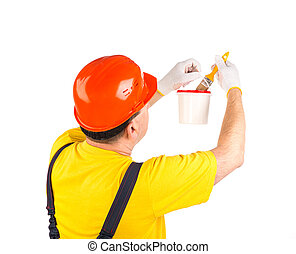 Worker with brush.