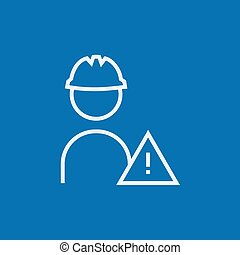 Worker with caution sign line icon.