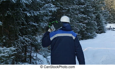 Worker with chain saw on shoulder going to the forest