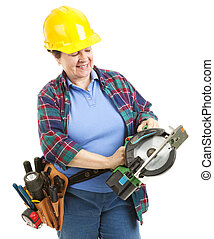 Worker with Circular Saw