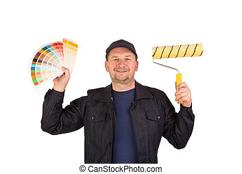 Worker with color samples