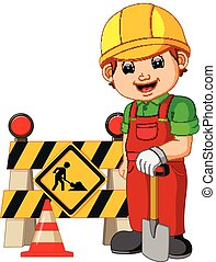 worker with construction sign