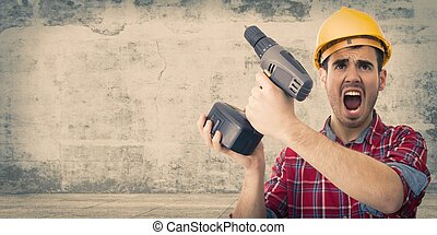 worker with drill screaming